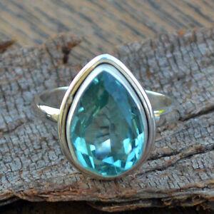 Pear-Cut-Apatite-Quartz-925-Sterling-Silver-Artisan-Handmade-Ring-size-7