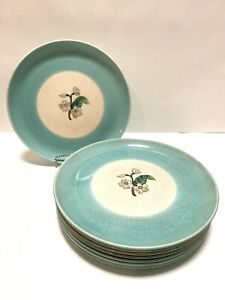 Edith-Cockcroft-8-Dinner-Plates-VERY-RARE-Colorful-Hand-Painted-1930s-SIGNED