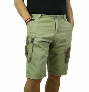 Bermuda-Uomo-Cargo-Pantalone-Corto-Tasconi-Laterali-Shorts-Casual-Verde