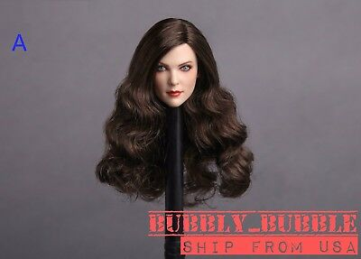 1//6 Female Head Sculpt B BROWN HAIR For PHICEN Hot Toys Figure SHIP FROM USA