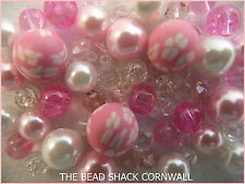 Glass Bracelet Making Kit / Bead Mix - Pink & White -  Blossom