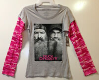 Duck Dynasty Junior Women's Si & Phil Pink Camo Long Sleeved T Shirt (s To 3xl)