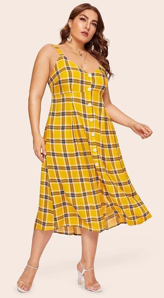Mustard Yellow Plaid Open Back Dress size 1XL