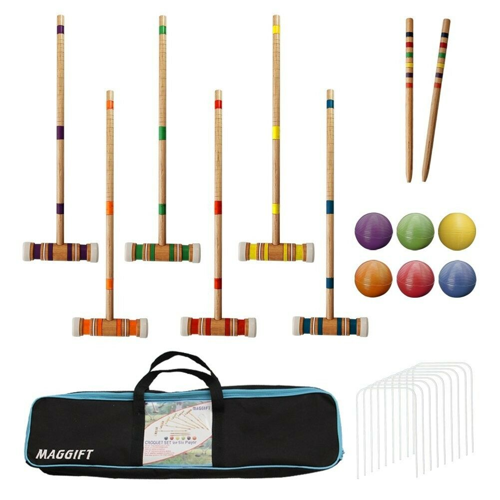 New Maggift Six Player Croquet Set with Carrying Bag 26 Inch