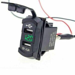 Dual-USB-Ladebuchse-Boot-Auto-LED-mit-Voltmeter-Wippschalter-Panel