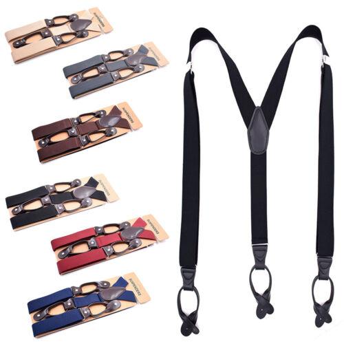 Men/'s Adjustable Heavy Duty Trouser Belt Suspender Elastic Leather Button Braces
