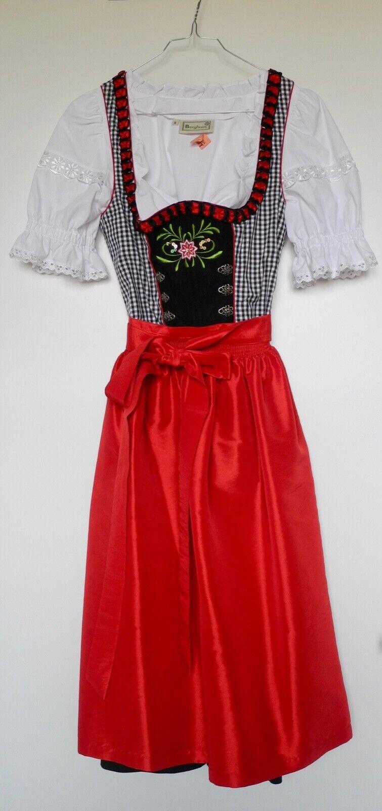 Dirndl mit Blause, schwarz-weiß-rot, Oktoberfest, Gr. 36, inkl. Gratis-Dirndl-BH