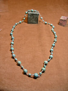 VINTAGE-TURQUOISE-AND-STERLING-SILVER-CHAIN-NECKLACE-36-034-LONG