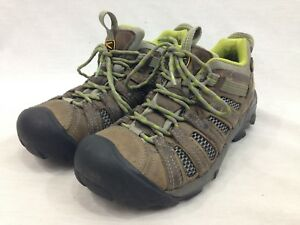 479b25a3cec7 Keen Shoes Womens 7.5 Brown Leather Green Lace Hiking Sneaker Trail ...