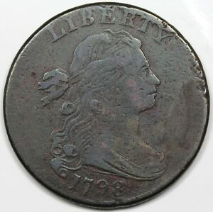 1798-Draped-Bust-Large-Cent-Style-2-Hair-obverse-cud-F-detail