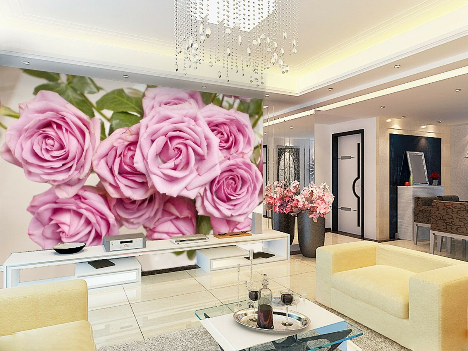 3D Pink pink Wall Paper Print Decal Wall Deco Indoor wall Mural