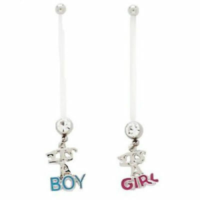"""5pc """"It's A Boy / Girl"""" Pregnancy Navel Rings 14g Belly Naval PTFE"""