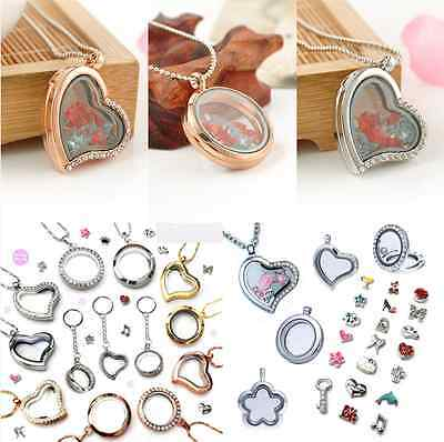 Living Memory Locket Floating Heart/Round Crystal Jewellery Pendant Necklace