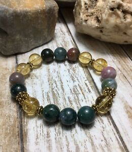 Handmade Healing Chakra Amethyst Turquoise Agate Citrine Stone Bracelet USA