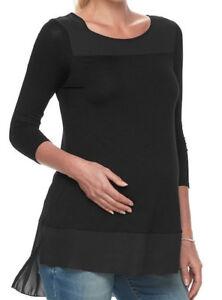 a5177199ec8ef Kohls A:GLOW Womens MATERNITY Black Mixed Media Georgette Trim Top ...