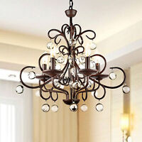 Wrought Iron And Crystal 5-light Chandelier on sale