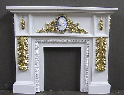 FLORAL  MIRROR ~  Dollhouse Mini~ 1:12 scale ~ Fireplace Overmantle ~ Artist