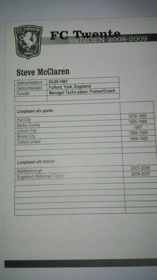 Samlekort, Steve mclaren autograf