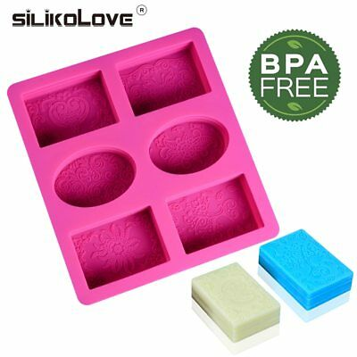 6 Cavities Rectangle Soap Silicone Cake Mold 3D DIY Handmade Soap Making Craft