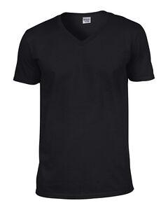 Gildan Softstyle Men's V-Neck Cotton T-Shirt Short Sleeve Plain Casual Top 64V00