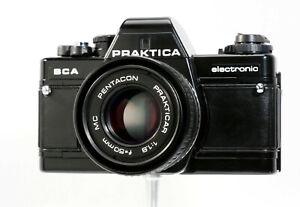 Discret Praktica Bca Electronic 35 Mm Film Slr + Pentacon 50 Mm F1.8 Lentille, Nettoyer, Film Testé-afficher Le Titre D'origine Divers Styles
