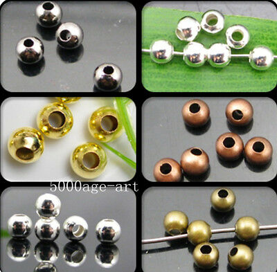 Round Metal Spacer Bead 2.0mm 2.4mm 3.2mm 4mm 5mm 6mm Gold Silver Bronze Copper
