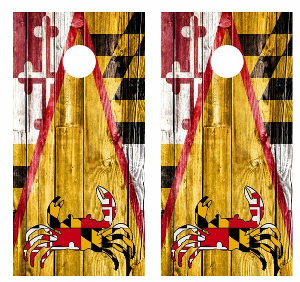 Maryland  Crab Themed Barnwood Cornhole Board Wraps FREE LAMINATE  promotional items