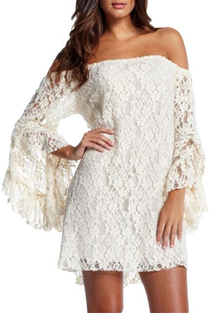 Women Lace long sleeve sexy elegant Mini party dress plus size (Us warehouse)