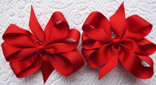 "2 RED 3"" BOWS GIRLS SCHOOL UNIFORM GROSGRAIN BERISFORDS RIBBON HAIR BOBBLES"