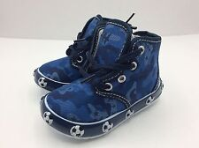 Toddler Boy Blue Zipper and Laces Boot Shoes Size 7 Commando Style