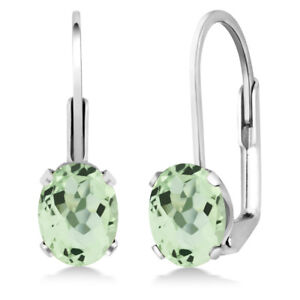 2-00-Ct-Oval-Green-Prasiolite-925-Sterling-Silver-Leverback-leverback-earrings