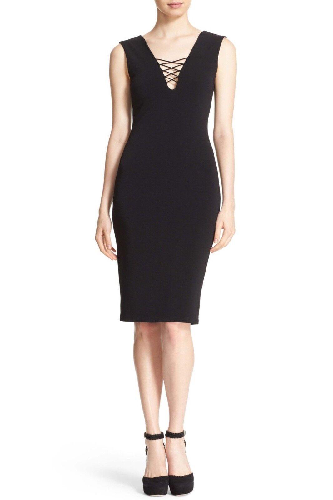 NWT  Alice + Olivia Asha Lace-Up V-Neck Sheath Dress in schwarz