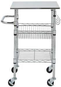 Details about Small Kitchen Cart/Service Trolley Chrome-Stainless Steel Top  w/ Locking Casters
