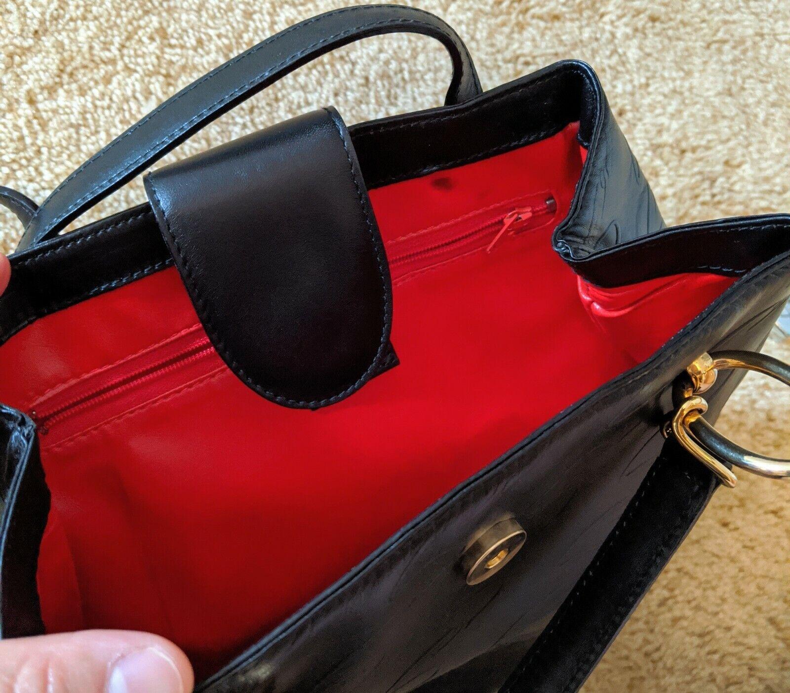Vintage Arnold Scaasi Purse Italian Leather Black… - image 2
