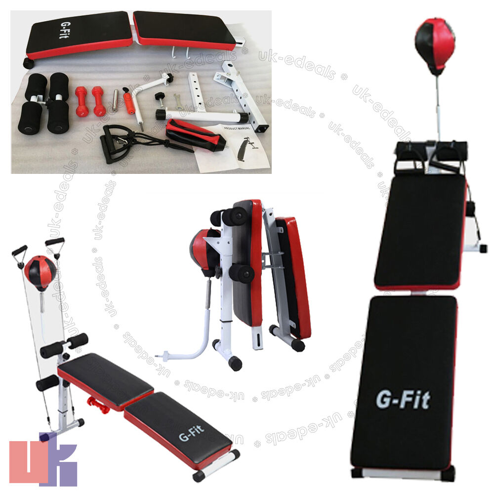 New G-FIT Folding Weight Bench Home Gym Exercise Lifting Chest Leg Press UKED