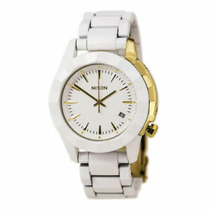 NIXON-Monarch-All-White-amp-Gold-Tone-Accented-Women-039-s-Watch-New