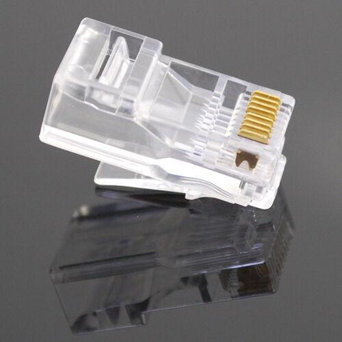 100Pcs Practical Internet Gold Plated Cable Modular Plug Adapter RJ45 8P8C CAT5E