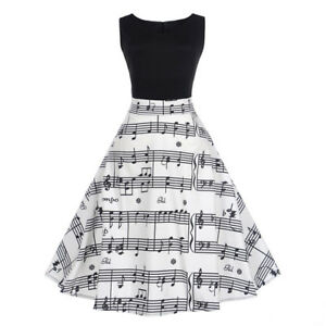 Women-039-s-Vintage-Style-1950s-Sleeveless-Music-Note-Print-Party-Casual-Dress