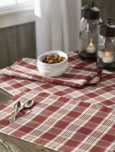 Details about Placemats Set of 2 Plaid Windowpane Red Cream Country  Farmhouse Kitchen Decor