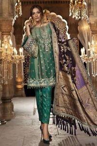 Asian Pakistanais En Mousseline De Soie Net Designer Costume [onu-cousu]-afficher Le Titre D'origine