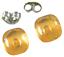 Glass-Earrings-Amber-Yellow-Iridescent-Metallic-Teal-Layer-Post-1-4-034-8mm-STUDS thumbnail 2