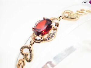 18K-18ct-Yellow-gold-Oval-Ruby-Heart-Gemstone-Women-Chain-bracelet-9-inch