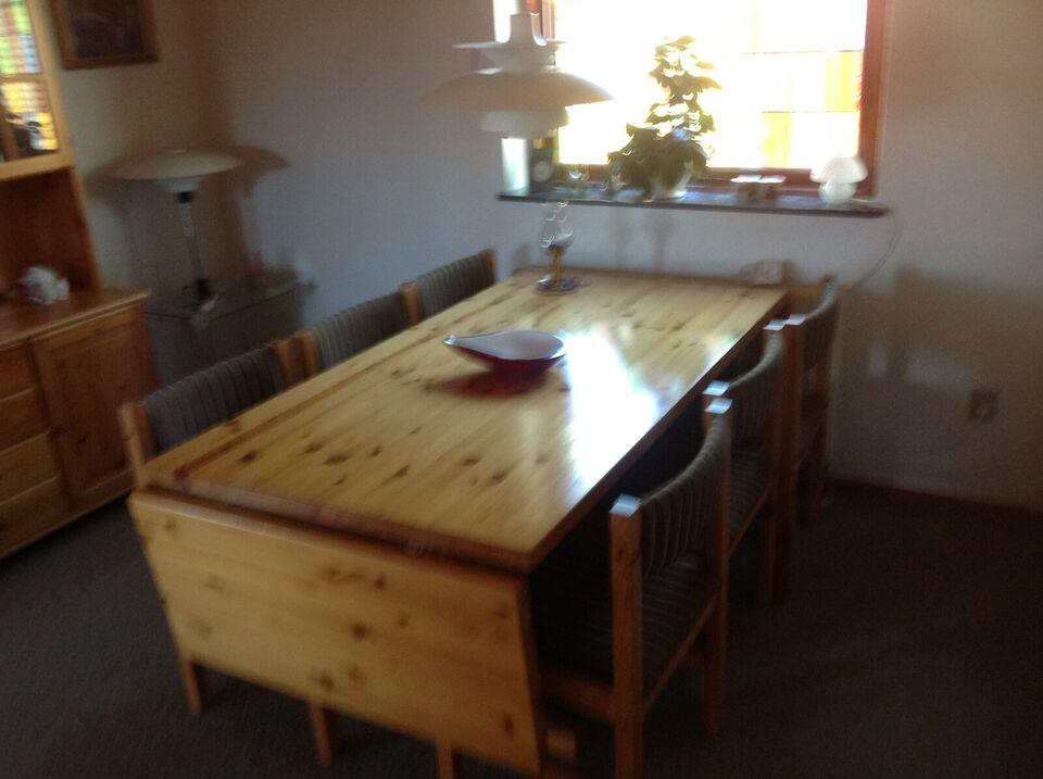 Spisebord m/stole, Massiv fyrtræ, Ukendt