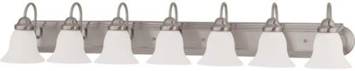 7-Light Brushed Nickel Vanity Light Decor Home Indoor with Frosted White Glass