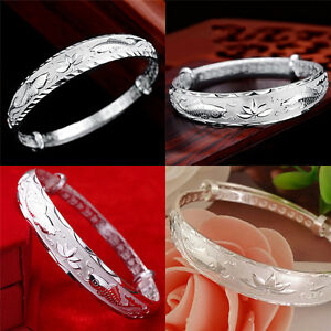 Silver-Fashion-Lovely-Fish-and-Lotus-Flower-Women-039-s-Adjustable-Bangle-W-amp-T