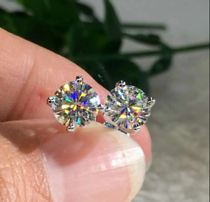 3Ct Round Cut Moissanite Solitaire Stud Earrings Solid 14K White Gold Finish