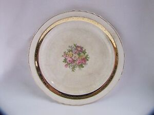 Antique French Saxon China Side Plate Rose Design 22k Gold Accents