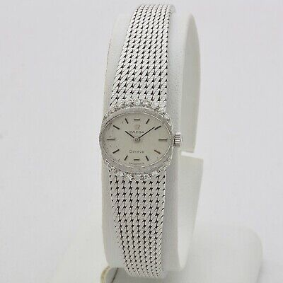 Omega Geneve lady 60s 18 kt white gold with diamonds manual winding serviced | eBay