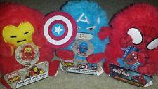 "NWT Set of 3 Marvel Hideaway Pillow Pets Mini Travel 5"" Stuffed Plush Iron Spide"