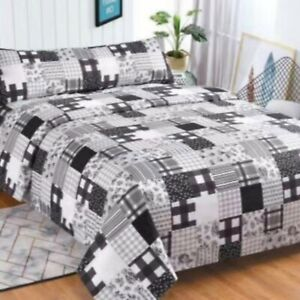 JUEGO DE SABANAS 3 piezas tipo patchwork negro cama 150